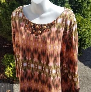 Ruby Rd Woman 2X top 3/4 length sleeve fall color